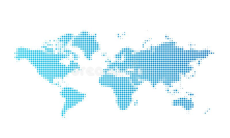 Weltkartepunkt-Vektorhintergrund, abstrakte Erdweltkarte, einfache punktierte Grafik lizenzfreie stockfotografie