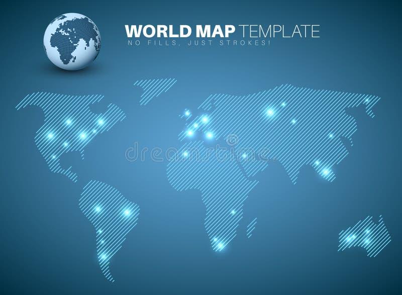 Weltkarteschablone für Ihre infographics Berichte lizenzfreie abbildung