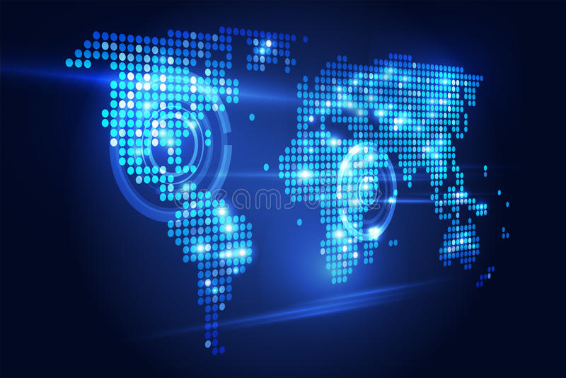 Weltkartetechnologie Perspektive lizenzfreie abbildung
