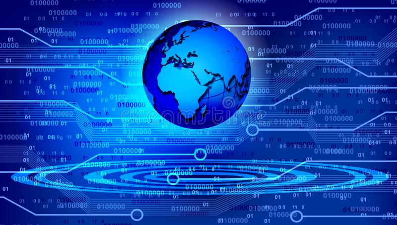Weltkartetechnologiehintergrund Auch im corel abgehobenen Betrag lizenzfreie abbildung