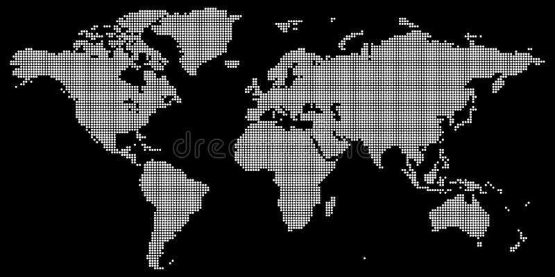 Weltkartevektor mit dem Weiß gefärbt ringsum punktiert lizenzfreie abbildung