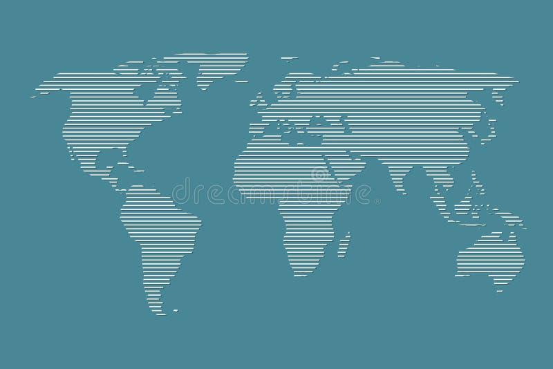 Weltkartevektor unter Verwendung der weißen Geraden auf dunkelblauem Hintergrund stock abbildung