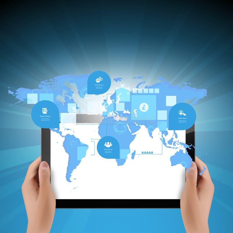 Weltkarteverbindung mit Tablet-Computer-Geschäfts-Technologiekonzept lizenzfreie abbildung