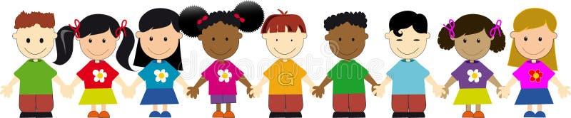 Weltkinder in einer Zeile stock abbildung