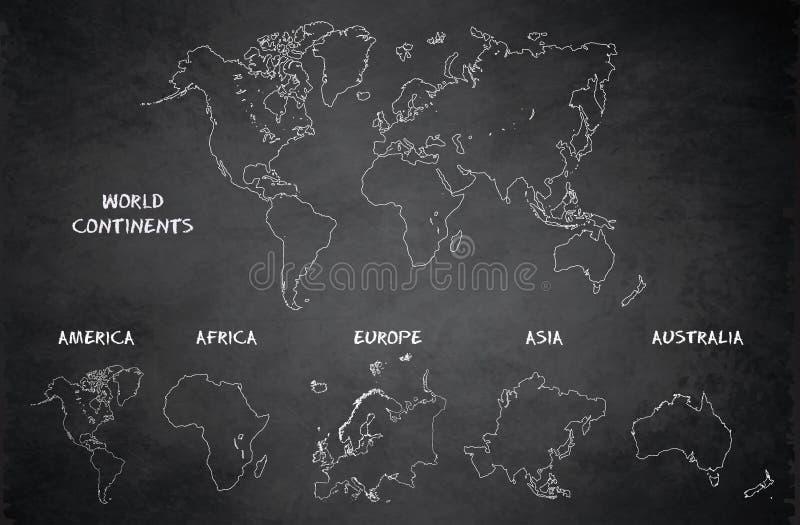 Weltkontinente zeichnen, Amerika, Europa, Afrika, Asien, Australien, Tafelschultafel auf vektor abbildung