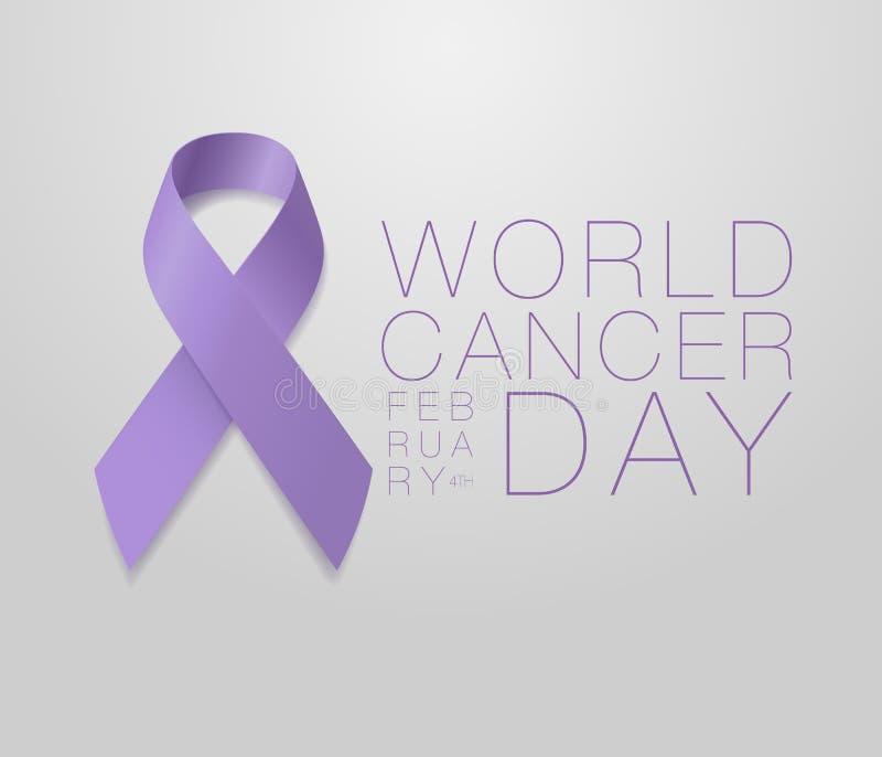 Weltkrebstag Calligraphy Poster Design Realistischer Lavender Ribbon 4. Februar ist der Tag des Bewusstseins für Krebs Vector lizenzfreie abbildung