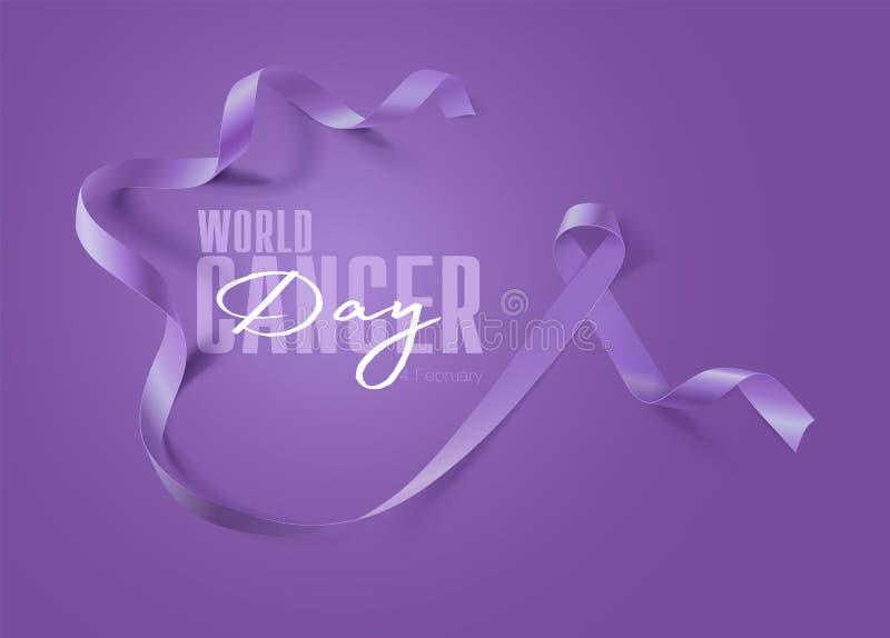 Weltkrebstag Calligraphy Poster Design Realistischer Lavender Ribbon 4. Februar ist der Tag des Bewusstseins für Krebs Vector stock abbildung