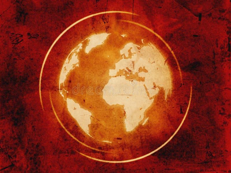 Weltkugel über Weinlesehintergrund stock abbildung