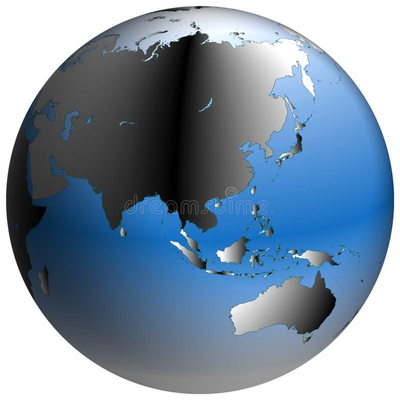 Weltkugel: Asien, mit blau-schattierten Ozeanen lizenzfreie abbildung