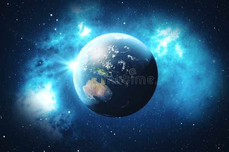 Weltkugel der Wiedergabe-3D Erdkugel mit Hintergrund-Sternen und Nebelfleck Erde, Galaxie und Sun vom Raum Blauer Sonnenaufgang vektor abbildung