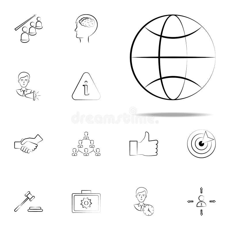 Weltkugel-Handgezogene Ikone Geschäftsikonen-Universalsatz für Netz und Mobile lizenzfreie abbildung