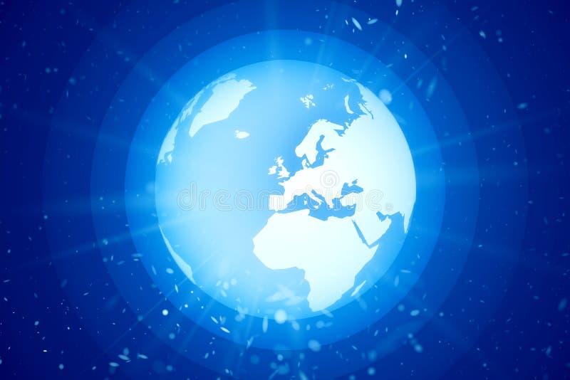 Weltkugel im Raum mit hellen Strahlen lizenzfreie abbildung