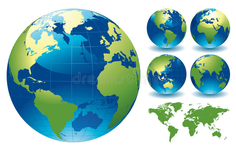 Weltkugel-Karten lizenzfreie abbildung