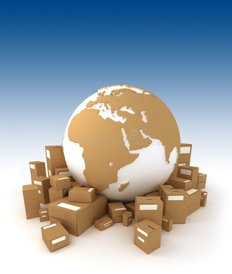 Weltkugel mit Afrika orientiert mit Paketen lizenzfreie abbildung