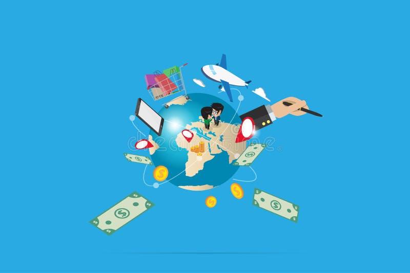 Weltkugel mit Warenkorb und Geld, digitales on-line-- und Geschäftskonzept lizenzfreie stockfotografie