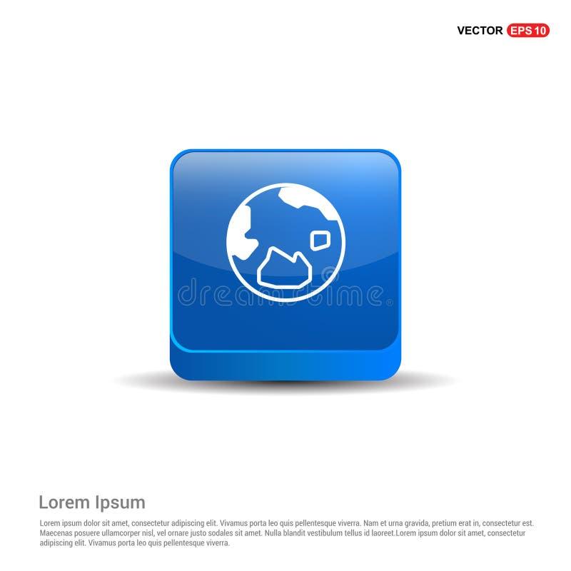Weltkugelikone - Knopf des Blau-3d stock abbildung