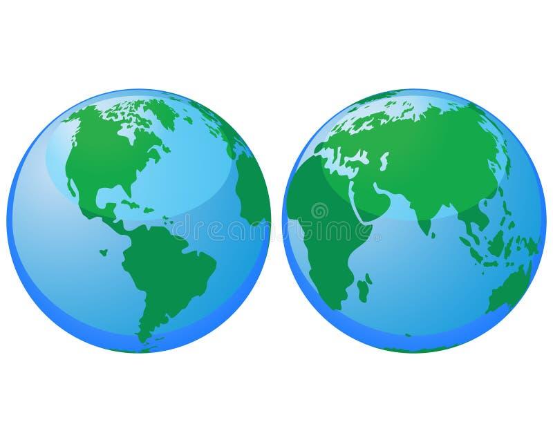 Weltkugeln stock abbildung