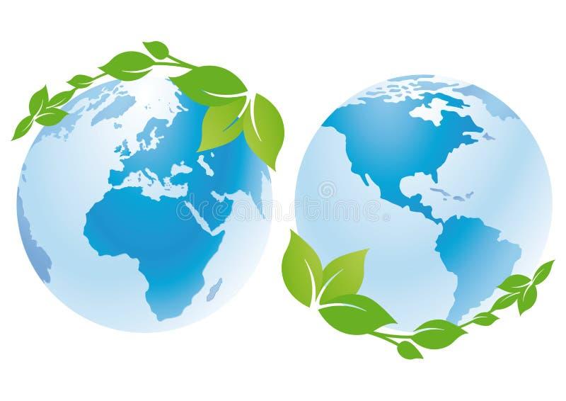 Weltkugeln mit grünen Blättern lizenzfreie abbildung