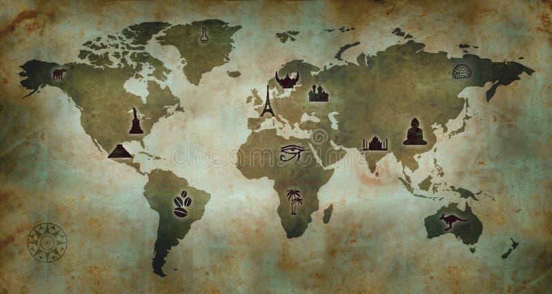 Weltkultur-Karte lizenzfreie abbildung