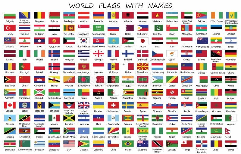 Weltlandflaggen mit Namen lizenzfreie abbildung