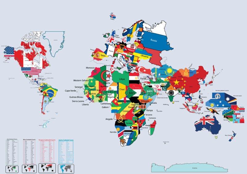 Weltlandmarkierungsfahnen und -karte lizenzfreie abbildung
