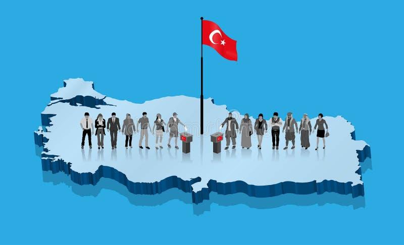 Weltliche Wähler des türkischen Aktivisten und moslemische Rightists wählen für die Türkei-Wahl lizenzfreie abbildung