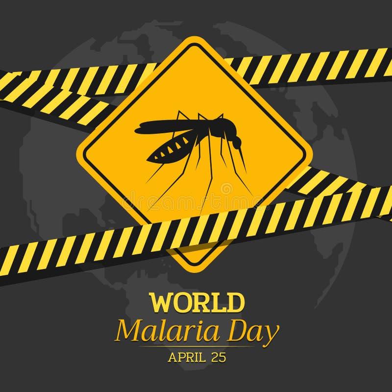 Weltmalaria-Tagesfahne mit gelbem warnendem Moskitozeichen und Vorsichtbandvektor entwerfen vektor abbildung