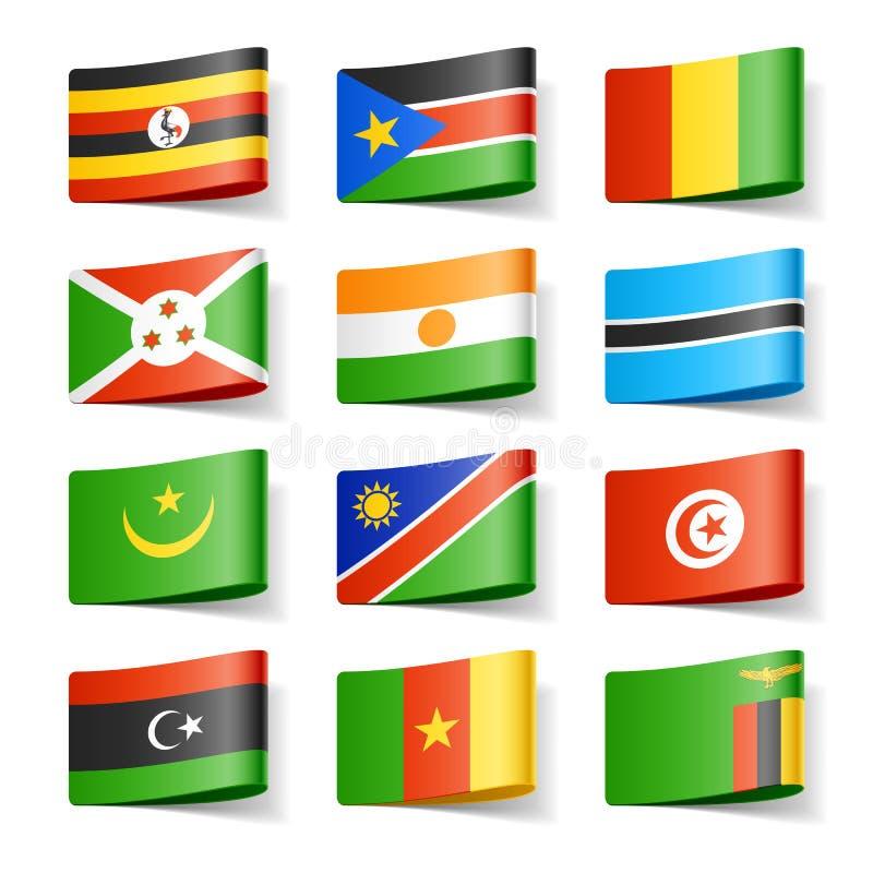 Weltmarkierungsfahnen. Afrika. vektor abbildung