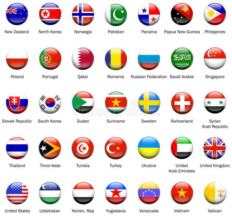 Weltmarkierungsfahnen-Ikonen 02 stock abbildung