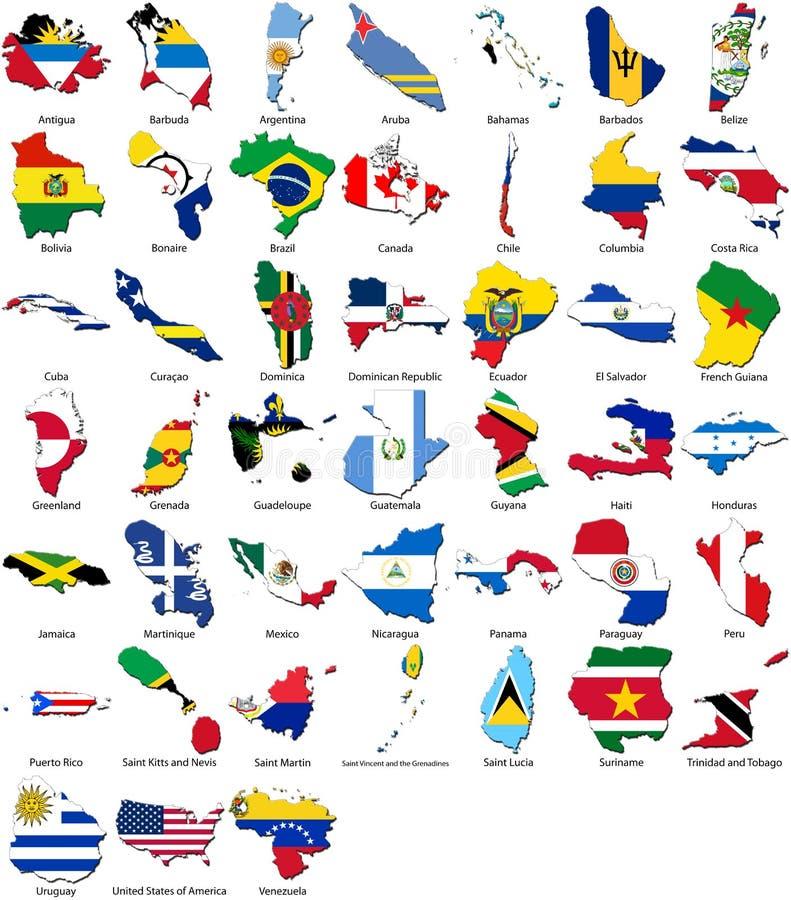 Weltmarkierungsfahnen - Landrand - Amerika-Set stockbild