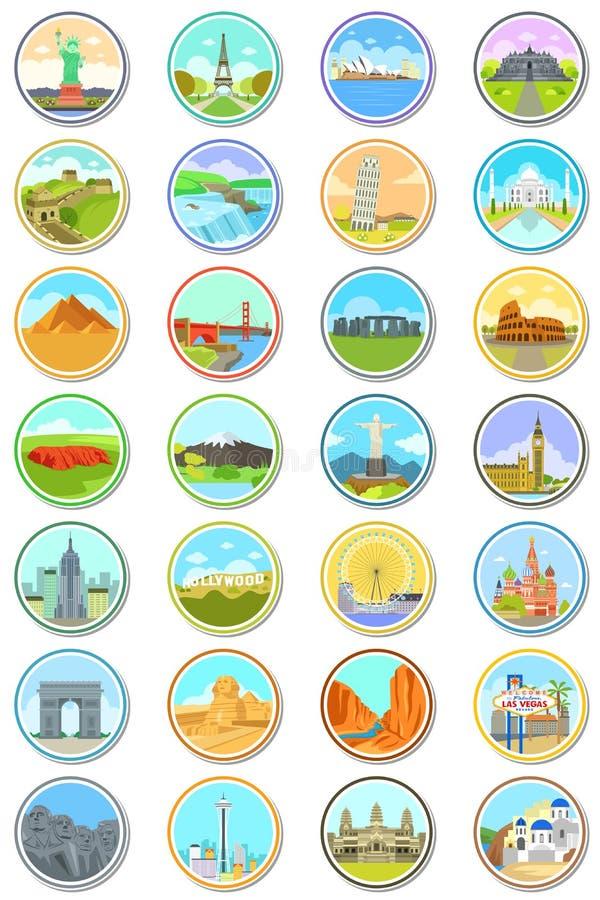 Weltmarkstein-Reise-Ikonen stock abbildung