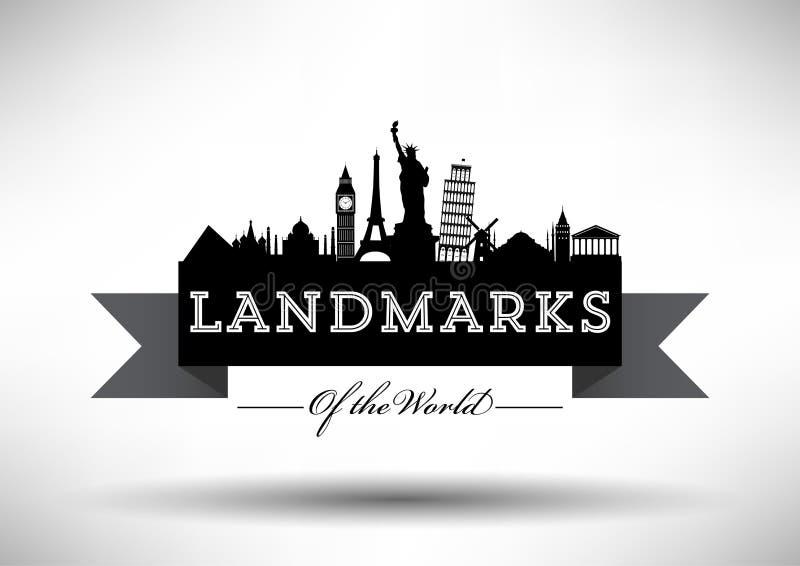 Weltmarkstein-Skyline-typografische Vektor-Illustration lizenzfreie abbildung