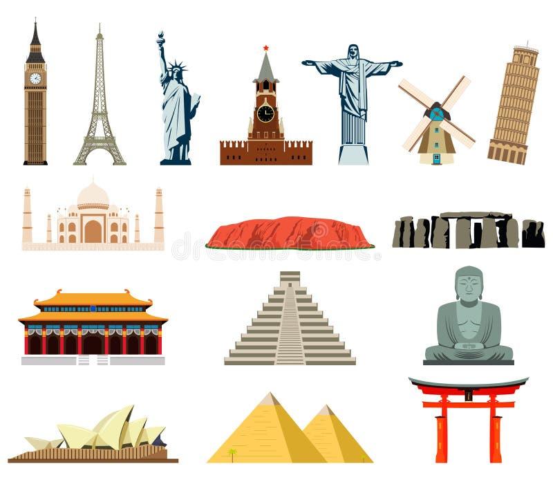 Weltmarksteine Berühmte Weltmarksteine lizenzfreie abbildung
