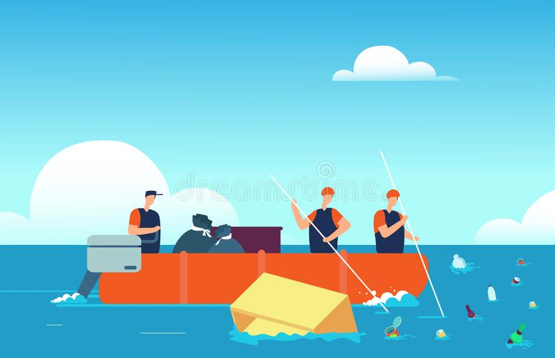 Weltmeeresverschmutzung Leute im Boot Plastikabfall im Meer sammelnd Umwelt-Karikaturvektor des verschmutzten Wassers vektor abbildung