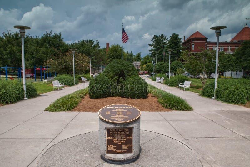 Weltmesse-Park Knoxville Tennessee Dedication Marker stockfotografie