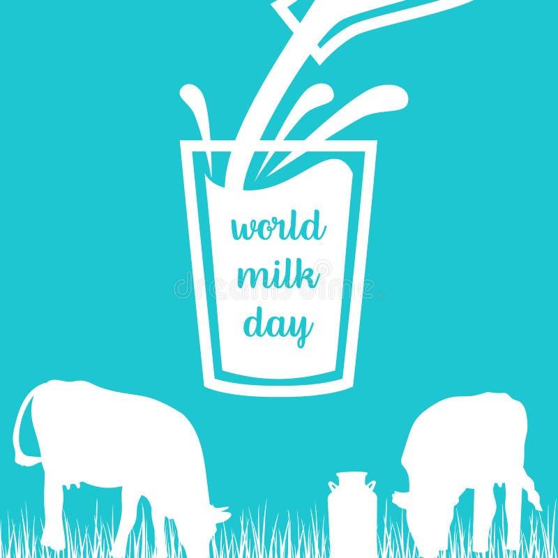 Weltmilch-Tagkuh, Milch, die aus einer Flasche im Glas, Schattenbilder auf blauem Hintergrund ausläuft vektor abbildung