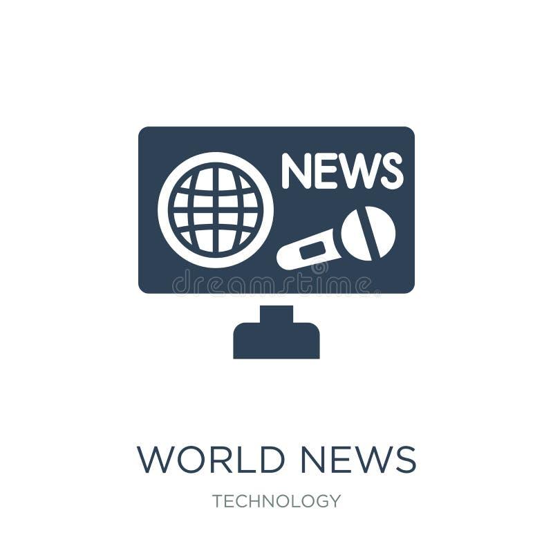 Weltnachrichtenikone in der modischen Entwurfsart Weltnachrichtenikone lokalisiert auf weißem Hintergrund Weltnachrichten-Vektori stock abbildung