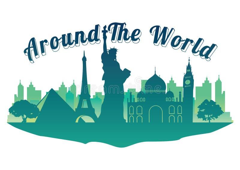 Weltoberste berühmte Markstein-Schattenbildart auf Markstein-Schattenbildart der Insel berühmter auf der ganzen Welt Reise und To stock abbildung