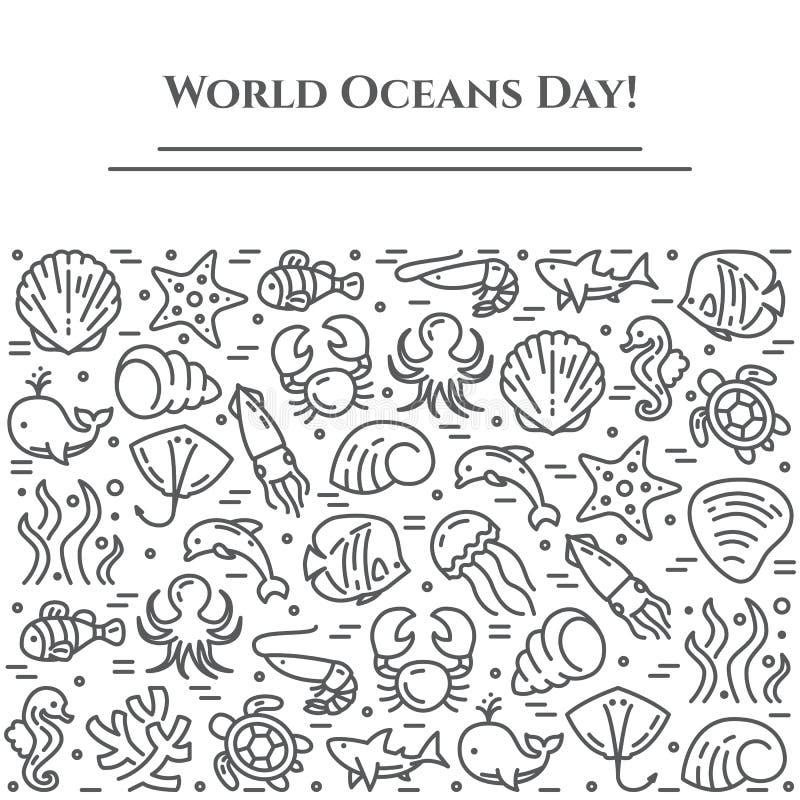 Weltozeantagesthema-Schwarzweiss-Fahne - Piktogramme von Fischen, von Oberteil, von Haifisch, von Delphin, von Schildkröte und vo stock abbildung