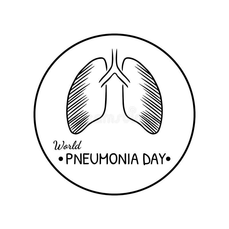 Weltpneumonie-Tageslokalisiertes Schwarzweiss-Logo stock abbildung