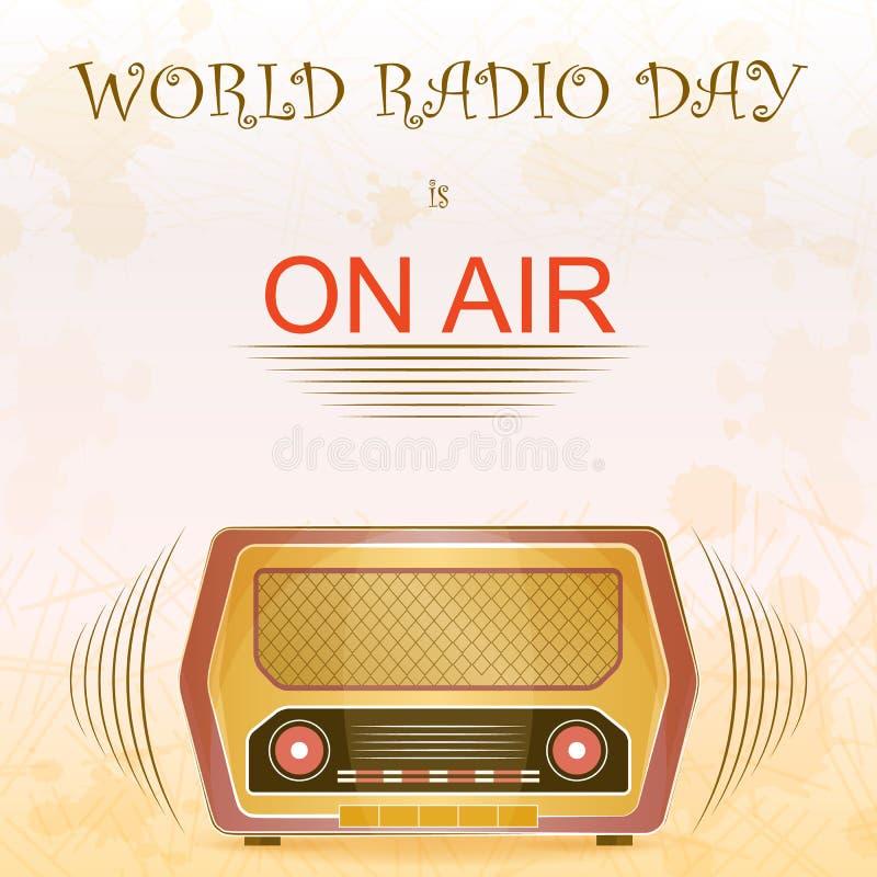 Weltradiotag in der Weinleseart vektor abbildung