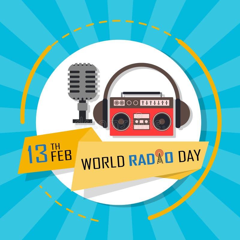 Weltradiotagesam 13. februar Hintergrund stock abbildung