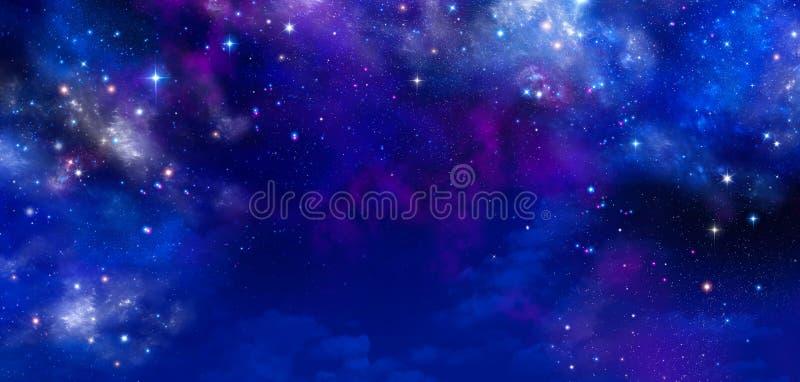 Weltraum, abstrakter blauer Hintergrund stock abbildung