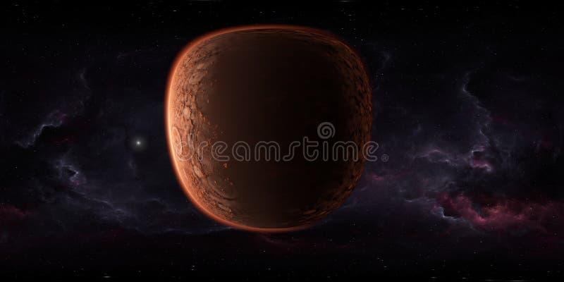 Weltraum vonpanorama 360 Grad mit Planeten Mars, Karte der Umwelt HDRI Kugelf?rmige Projektion Equirectangular Marslandschaft lizenzfreie abbildung