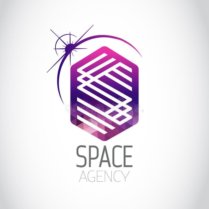 Weltraumagentur-Purpur-Logo lizenzfreie abbildung