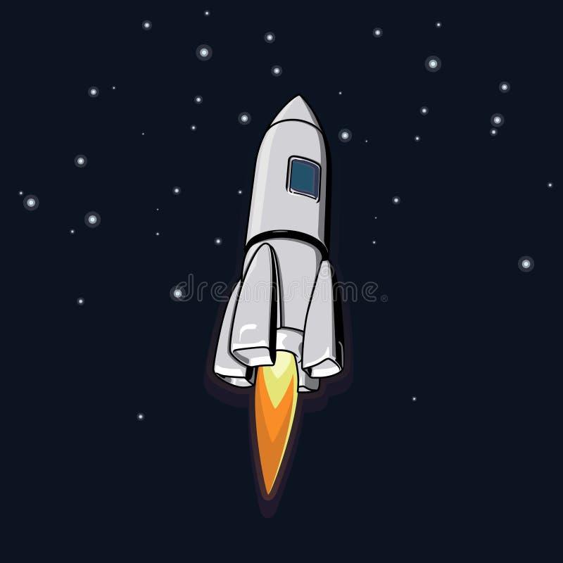 Weltraumillustration des Vektors mit einer Rakete vektor abbildung