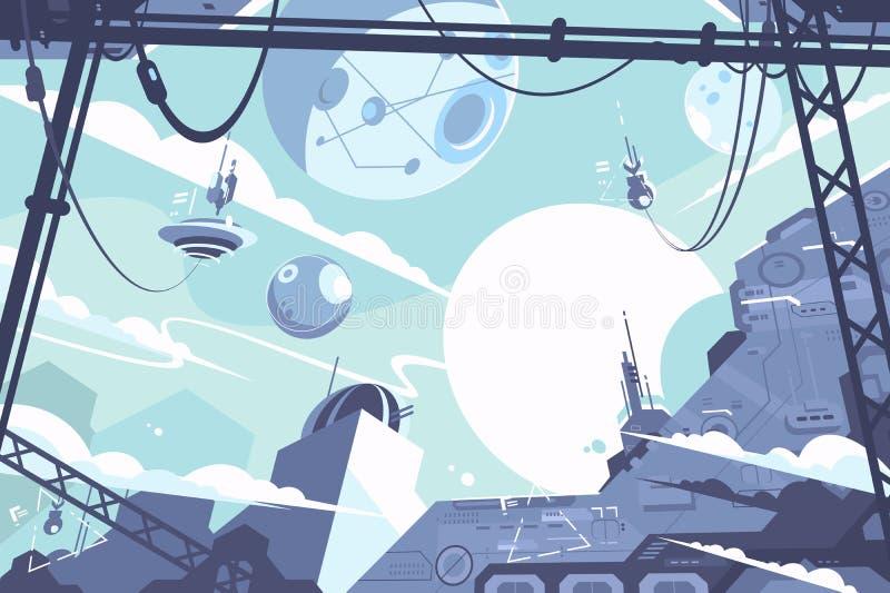 Weltraumkolonie mit Raketen und Stationen vektor abbildung