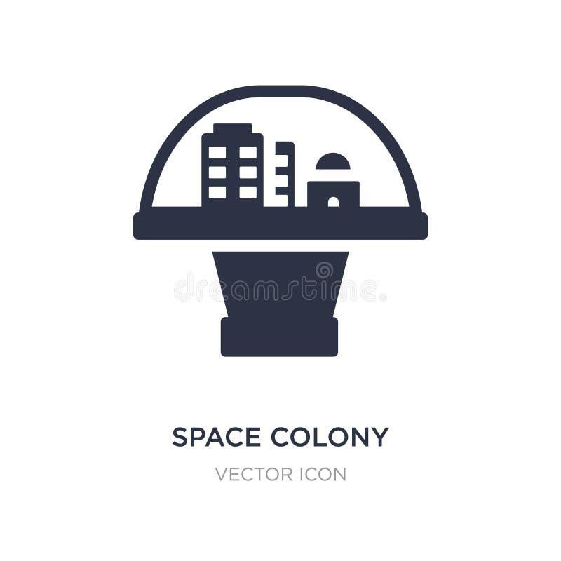 Weltraumkolonieikone auf weißem Hintergrund Einfache Elementillustration vom Astronomiekonzept vektor abbildung