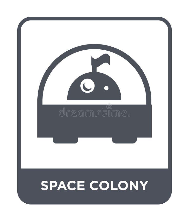 Weltraumkolonieikone in der modischen Entwurfsart Weltraumkolonieikone lokalisiert auf weißem Hintergrund Weltraumkolonievektorik vektor abbildung
