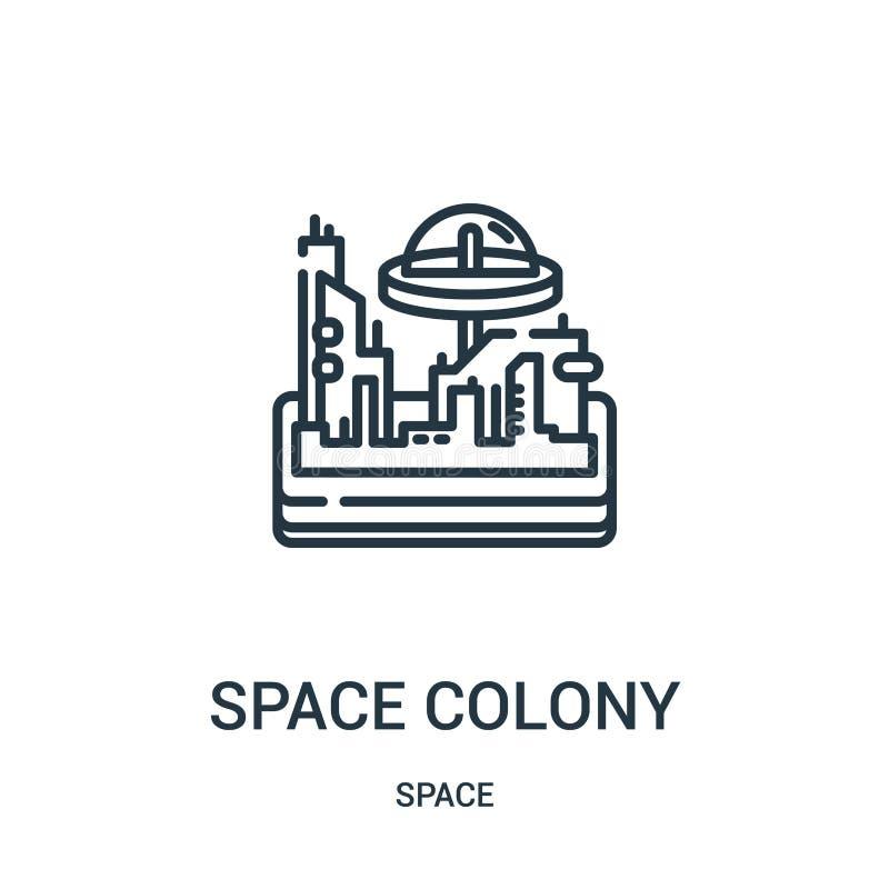 Weltraumkolonieikonenvektor von der Raumsammlung Dünne Linie Weltraumkolonieentwurfsikonen-Vektorillustration lizenzfreie abbildung